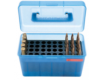 MTM Deluxe FlipTop Ammo Box 223-Blue-50rd-H50-RS-24