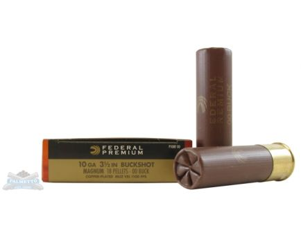 "Federal 10ga 3.5"" Magnum 18 Pellets 00 Buck Vital-Shok Shotshell Ammunition 5rds - P108F 00"