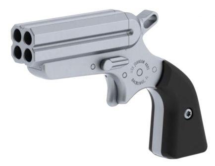 """Iver Johnson Pocket Ace 2"""" Quad Barrel .22 LR Derringer With Black Grips, Stainless"""