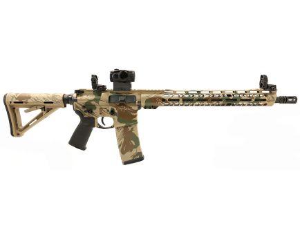 "PSA Custom ""Rhodestroke"" 5.56 NATO 16"" CFH 15"" V2 Slant MLOK MOE Rifle w/ 3.5 lb Curved Bow, Ambi Safety, MBUS & Sig Romeo 5"