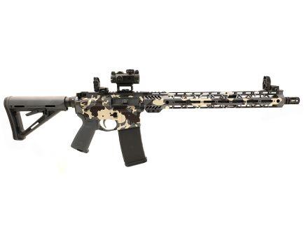 "PSA Custom ""Pluto Camo"" 5.56 NATO 16"" Nitride 1/7 Mid-Length 15"" Cross-Cut MLOK MOE Rifle w/ Sig Romeo MSR, MBUS & EPT"