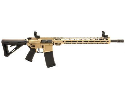"PSA Custom .223 Wylde 18"" CHF 1/8 15"" Cross-Cut MLOK MOE Rifle w/ 3.5 lb Flat Bow FCG, Ambi Safety, MBUS - Tan"