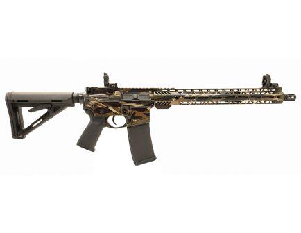 "PSA Custom  5.56 NATO Carbine-Length 16"" Nitride 15"" Cross-Cut MLOK MOE Rifle w/ 3.5 lb Curved Bow FCG & MBUS  - Tiger Stripe"