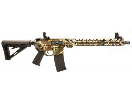 """PSA Custom  5.56 NATO Carbine-Length 16"""" Nitride 15"""" Cross-Cut MLOK MOE Rifle w/ 3.5 lb Curved Bow FCG & MBUS  - OCP"""