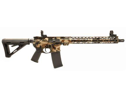 "PSA Custom 5.56 NATO Carbine-Length 16"" Nitride 15"" Cross-Cut MLOK MOE Rifle w/ 3.5 lb Curved Bow FCG & MBUS  - Woodland"