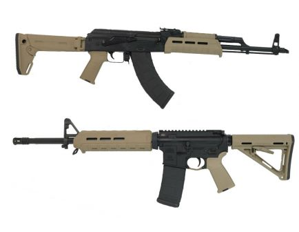 """Blem PSAK-47 GB2 Liberty """"MOEkov"""" Rifle, FDE & PSA 16"""" Midlength MOE Freedom Rifle, FDE With Matching Serial Numbers"""