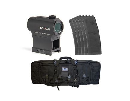 "Holosun Micro Red Dot Sight with PSA 36"" Single Gun Case & Five MFT 30 Round 5.56 AR-15 Magazines"