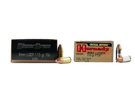 CCI Blazer Brass 9mm 115gr FMJ Ammuniton 500rds & Hornady 9mm 115gr FTX Critical Defense Ammo 25rds