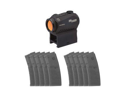 Sig Sauer Romeo5 1x20mm Red Dot Sight & Ten (10) MFT 30rd 5.56 Black Polymer Magazines