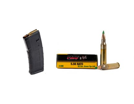 200rds of PMC X-TAC 62gr LAP 5.56 Ammo & 10 Magpul PMAG 30rd 5.56 Magazines