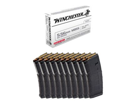 200rds of Winchester 62gr FMJ Green Tip 5.56x45mm Ammo & 10 Magpul PMAG 30rd Gen2 MOE 5.56x45 Magazines