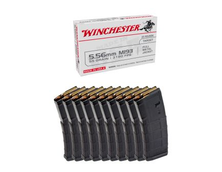 200rds of Winchester 55gr FMJ 5.55 M193 Ammo & 10 Magpul 30rd PMAG Gen2 MOE 5.56 Magazines