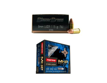 500rds of CCI Blazer 115gr FMJ 9mm Ammo & 20rds of Norma 108gr Monolithic Hollow Point 9mm Ammo