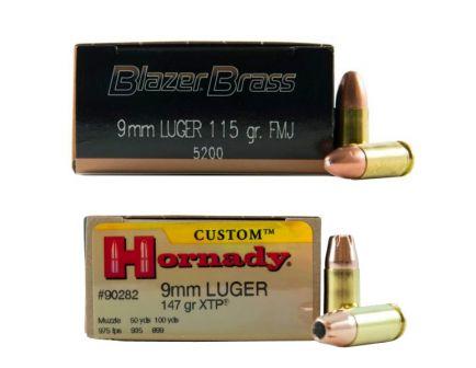 CCI Blazer Brass 115 gr FMJ 9mm 500 Rounds & Hornady 9mm 147gr XTP Custom Pistol Ammunition 25 Rounds