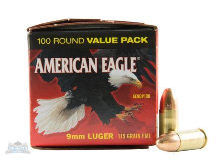 American Eagle 9mm 115gr FMJ Ammunition 100rds - AE9DP100