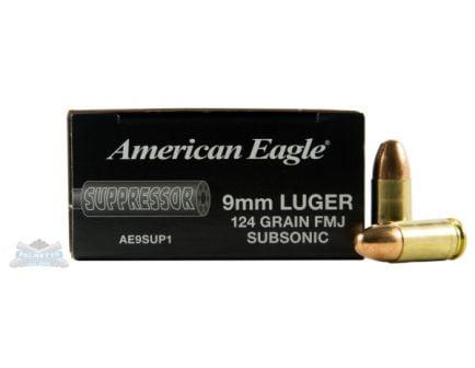 American Eagle 9mm 124gr FMJ Sub-Sonic Ammunition 50rds - AE9SUP1
