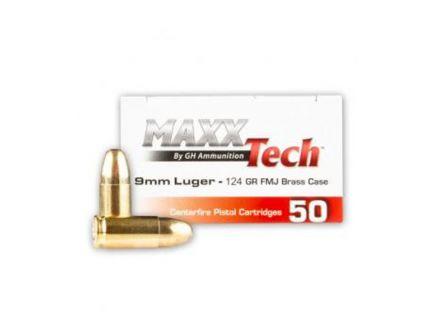 Maxxtech 124gr FMJ 9mm Brass Cased Ammunition 50 Rounds