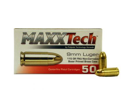 Maxxtech 9mm 115gr FMJ Brass Cased Ammunition 50rds - PTGB9MMB