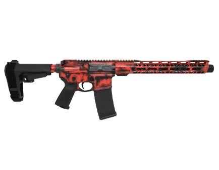 """PSA Custom """"Rusted Justice"""" 12"""" Nitride Carbine-Length 5.56 NATO 13.5"""" V2 Slant MLOK SBA3 Pistol - Red"""