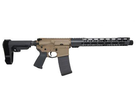 """PSA Custom 12"""" Nitride Carbine-Length 5.56 NATO 13.5"""" V2 Slant MLOK SBA3 Pistol - Tan/Grey"""