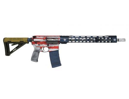 "PSA Custom ""Old Glory"" 16"" Mid-Length 5.56 NATO 1/7 Stainless 15"" Slim-Line Lightweight MLOK MOE Rifle"