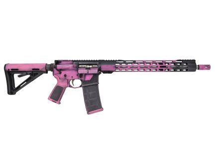 """PSA Custom 16"""" Mid-Length 5.56 NATO 1/7 Stainless 15"""" Slim-Line MLOK Rail MOE Rifle, Pink/Grey """"Mech"""""""