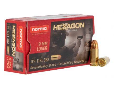 Norma Ammunition 124 gr Hexagon 9mm Ammo, 50/box - 299140050