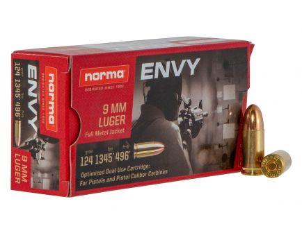 Norma Ammunition Envy 124 gr Full Metal Jacket 9mm Ammo, 50/box - 299440050