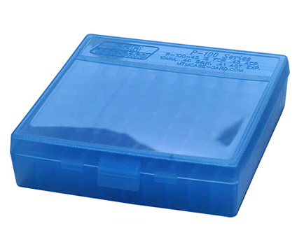 MTM Fliptop Pistol Ammo Box Clear Blue 100rd. - P-100-45-24