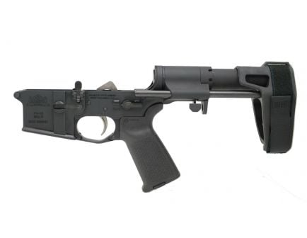 psa ar15 complete moe ept pistol lower with sb tactical pdw pistol brace in black side view