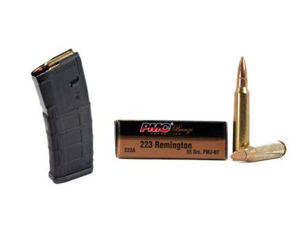 200 Rounds PMC Bronze .223 Rem 55gr FMJ-BT Ammunition & 10 Magpul PMAG 30 Round Magazines