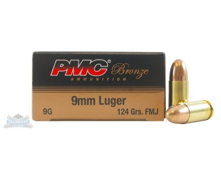 PMC Bronze 9mm 124gr FMJ Ammunition 50rds - 9G