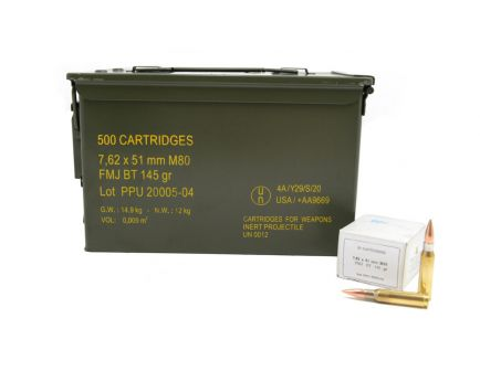 PPU 145 gr FMJBT 7.62x51 Ammunition 500 Round Ammo Can For Sale