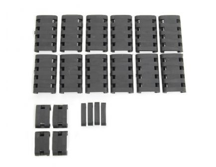 PSA Custom 20 Piece Mil-Std-1913 Picatinny/Weaver Rail Cover, Black - 116074