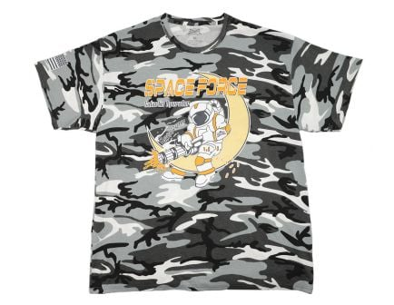 PSA Space Force Short Sleeve T-Shirt, Black and White Camo - PSASFTEE