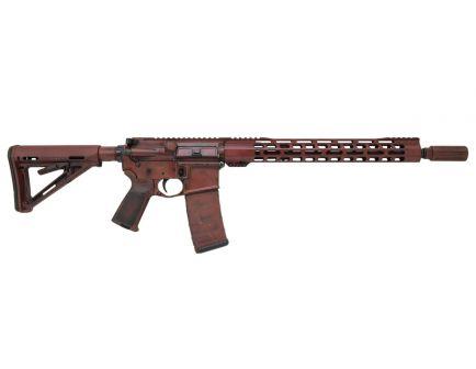 """PSA Custom """"Battle Worn"""" Carbine-Length 16"""" .300 BO Nitride 15"""" Slim-Line MLOK MOE Rifle, Red/Black"""