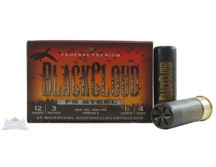 "Federal 12ga 3"" 1.25 #4 Black Cloud Waterfowl Shotshells 25rds - PWB142 2"