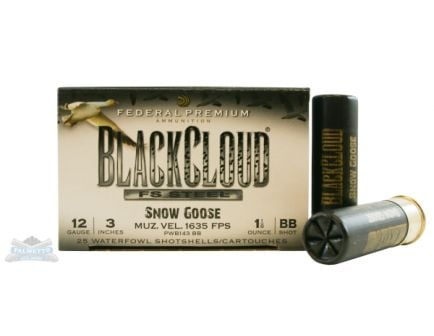 "Federal 12ga 3"" 1-1/8oz BB Snow Goose Black Cloud HV Waterfowl Shotshells 25rds -  PWB143 BB"