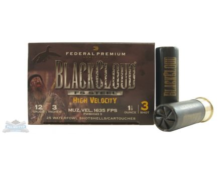 "Federal 12ga 3"" 1-1/8oz #3 Black Cloud High Velocity Waterfowl Shotshells 25rds - PWBH143 3"