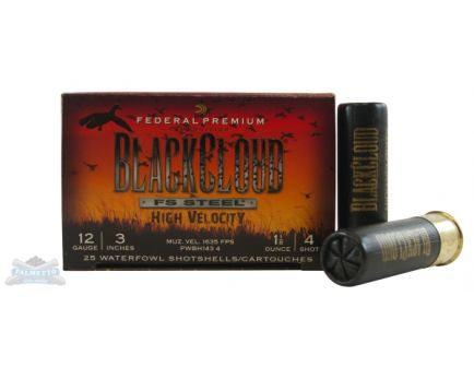 "Federal 12ga 3"" 1*1/8 #4 Black Cloud High Velocity Waterfowl Shotshells 25rds - PWBH143 4"