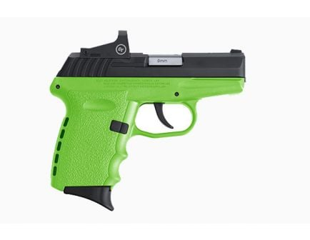 SCCY CPX-2RD 9mm Pistol, Lime/Black - CPX-2CBLGRD