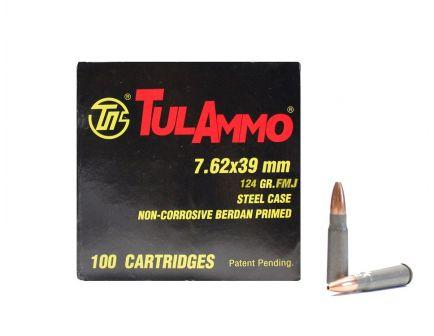 7.62x39mm Ammo Tula 7.62x39mm 124gr FMJ Steel Cased Ammunition (100rds)
