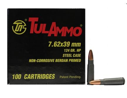 7.62x39mm Rounds Tula 7.62x39mm Hollow Point 100rds