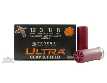 "Federal 12ga 2.75"" 3DE 1-1/8oz  #8  Ultra Clay & Field Target Shotsehell Ammunition 25rds - UC12SI 8"