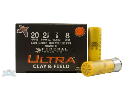 "Federal 20ga 2.75"" #8 Game Load Shotshell Ammunition 25rds - UC20SI 8"