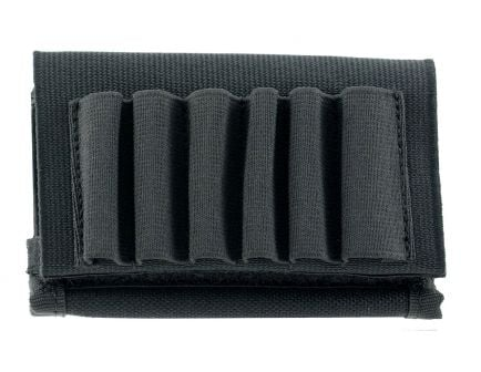Uncle Mike's 6 Round Buttstock Rifle Shell Holder With Flap, Black Nylon