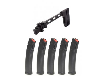 PSA AK Side Folding Brace and 5 PSA AK-V 9mm 35 Round Magazines