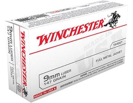 Winchester USA 9mm 147gr FMJ Ammunition 50rds - USA9MM1