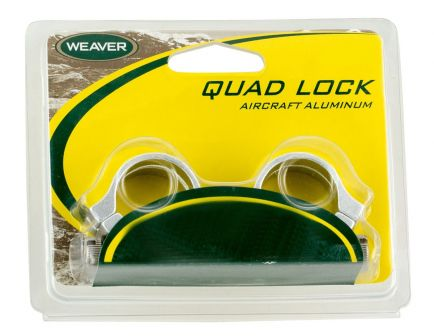 Weaver Quad Lock 1 inch X-High Aluminum Scope Ring, Matte Black - 49049