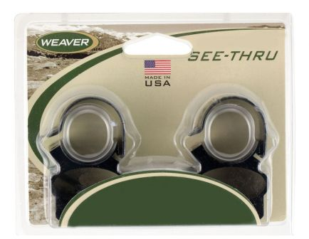 Weaver 1 inch Aluminum See Thru Steel Lock Scope Ring, Matte Black - 49515